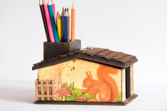 Wooden Pencil Holder, Spring Forest, Unusual Desk Accessory, Brown & Yellow Kids Desk Organizer, Nursery or Home office decor ohtteam
