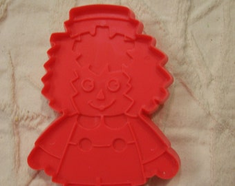 """Raggedy  Andy Cookie Cutter Hard Red Plastic Vintage Great for Birthday Party or Baby Shower Cookies 5"""" Tall"""