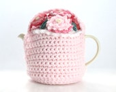Hand Crochet Basket Of Pretty Pink Flowers Tea Cosie