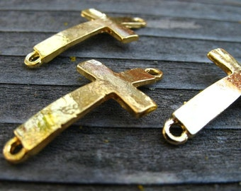 10 Gold Plated Curved Cross Connectors 30mm