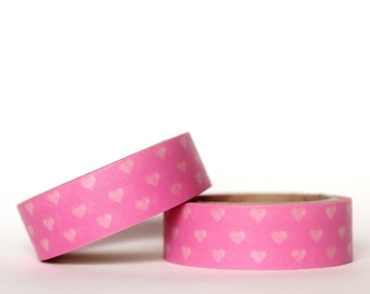 MINI 5m Hearts on Pink Washi Tape