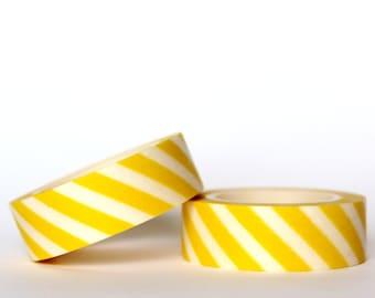 Yellow Diagonal Stripes Washi Tape