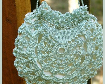Silk Crochet Draw String Bag with Silk Lining for Prom, Weddings, Formal Parties from a 1913 Pattern