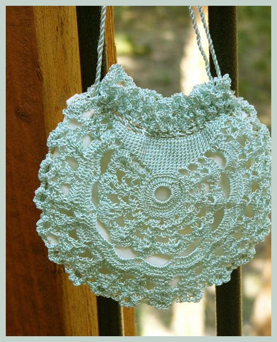 Crochet Miser Bag Pattern : Silk Crochet Draw String Bag with Silk Lining for Prom