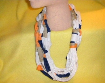 Recycled T-shirt Necklace Scarf peach blueberry