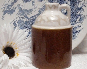 6 Inch Brown Jug White Top