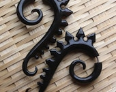 TRITON Earrings - Hand Carved Fake Gauges - Natural Black Horn - Tribal Jewelry