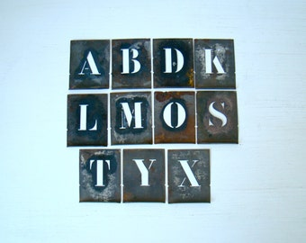 antique french zinc stencil set, alphabet letter stencils, small aluminum stencils, industrial letters, lipped stencils