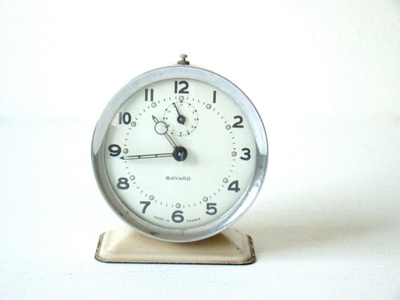 vintage french bayard wind up alarm clock, beautiful small french alarm clock, cream and chrome metal alarm clock