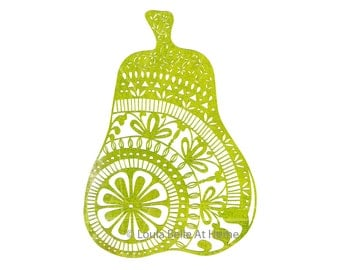 Doodle Pear 1 - a signed giclee print taken from an original hand cut paper cut by Loula Belle At Home