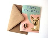 SALE- SEL - Cat Pink Happy Birthday Eco Friendly Art Greeting Card with Number Badge