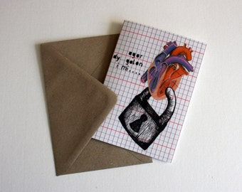 Welsh Santes Dwynwen  Calon Valentine Open Your Heart Eco Friendly Art Greeting Card