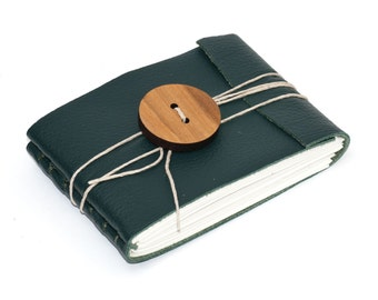 Rustic Leather Journal or Leather Sketchbook with Oversized Wooden Button, Pocket Sized Notebook, Emerald Green