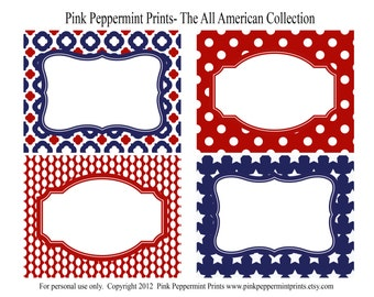 NEW INSTANT DOWNLOAD The Patriotic Party Collection Printable Party Labels
