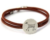 CAPIVARA sterling silver oxidized brushed bracelet wrist cuff rock art deer prehistoric cave painting leather