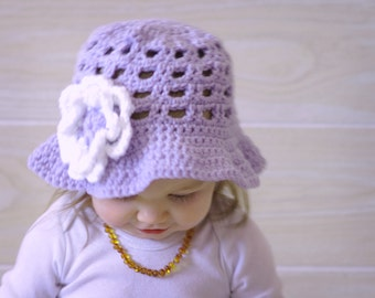 Baby Crochet Sunhat - Easter Hat -  Spring Hat - Pick Your Color - Acrylic Or Cotton