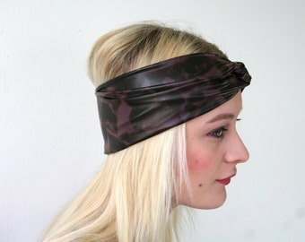 Animal print headband, burgundy/ brown print, faux stretch leather, women's turban twist headband