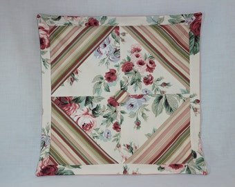 Pink Cabbage Rose Shabby Chic Patchwork Pillow Cover