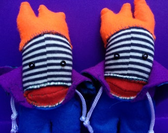 Sock plush -sock monsters-Twin Boys-Double Trouble-socks-hand stitched.