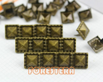 500Pcs 10.5mm Antique Brass Dotted Border PYRAMID STUDS Metal Studs (BDP10)