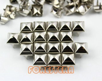 100Pcs 10mm Silver Dome Pyramid Studs Metal Studs (SMP10)