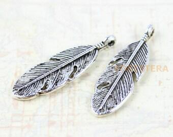 25Pcs Antique Silver Feather Charm Feather Pendant 30x9mm (PND188)