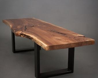 YOUR CUSTOM Black Walnut  Coffee Table-Size Medium - Live Edge - Slab Wood