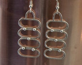"Sterling silver oval bubble dangle earrings.   ""10"""
