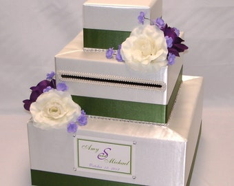 Elegant Custom Made Wedding Card box-flowers,rhinestone accents