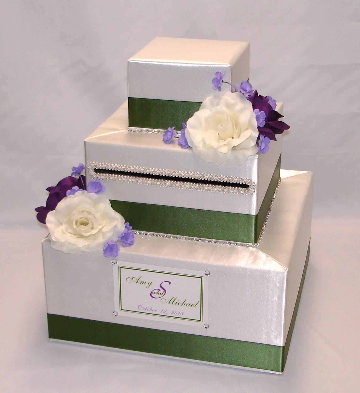 Elegant Custom Made Wedding Card Box-flowersrhinestone