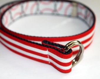 Boys Belt Reversible Baseball and Stripes