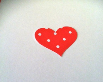 50 3/4 inch RED Hearts with white POLKA dots Hand Punched Die Cuts, paper punches Valentines cards, banners,confetti, embellishments