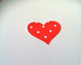 50 1.5 in RED Hearts with white POLKA dots Hand Punched Die Cuts, paper punches Valentines cards, banners, party invitations, embellishments