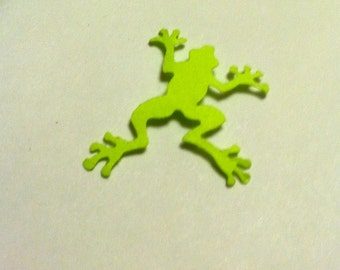 50 Hand Punched green Frog Die cuts  1 inch for Confetti, Birthday party decorations,Invitations,scrapbooking,