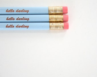 hello darling 3 baby blue engraved pencils in cursive.