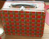 Vintage Ohio Art  Red Tartan Plaid  Lunch Box