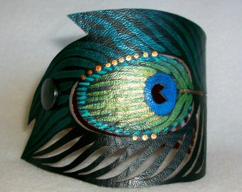 Teal Peacock Feather Bracelet, Hand Painted Faux-Leather, Gifts for Her