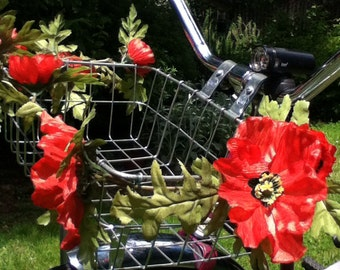 Red poppy bike basket garland