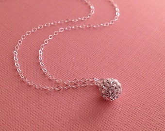 Crystal Necklace in Sterling Silver -Tiny Crystal Ball Necklace
