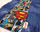 Superman Comic Strip Blue Burp Cloth