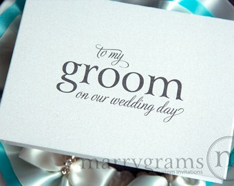 Wedding Card to Your Groom on Your (Our) Wedding Day- Groom Gift for Wedding Day - Unique, Charming Wedding Keepsake To My Groom CS08
