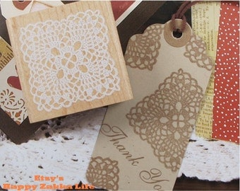 Wooden Rubber Stamp - White Lace 04 - 1 pcs