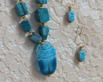 Turquoise soapstone necklace and earrings