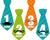 Monthly Baby Boy Tie Stickers, Milestone Stickers, Baby Month Stickers, Monthly Bodysuit Sticker, Monthly Stickers Mustache (Trevor)