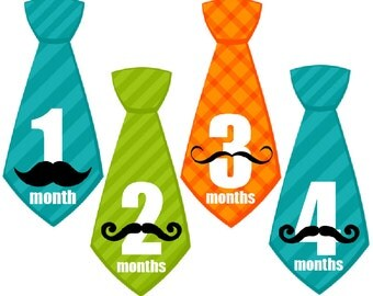 Monthly Baby Boy Tie Stickers, Milestone Stickers, Baby Month Stickers, Monthly Bodysuit Sticker, Monthly Stickers Mustache (Trevor)