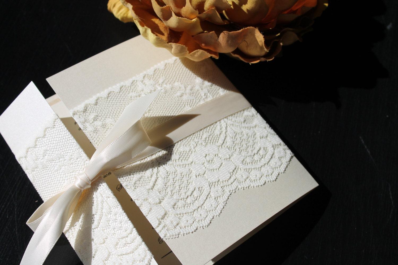 Ivory Wedding Invitations: Rustic Wedding Invitation Lace Wedding Invitation Set