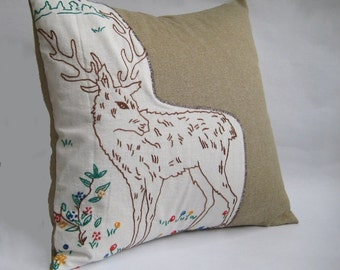 Decorative Throw Pillow Deer / Vintage Hand Embroidery Old more 50 Years / Tan Cotton Rustic Cover / Collectibles Primitive Case / Gift idea