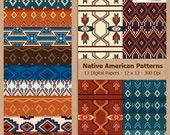 Digital Scrapbook Paper Pack - NATIVE AMERICAN PATTERNS - Instant Download