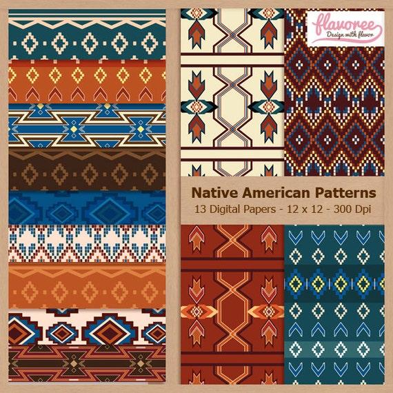 digital scrapbook paper pack native american patterns