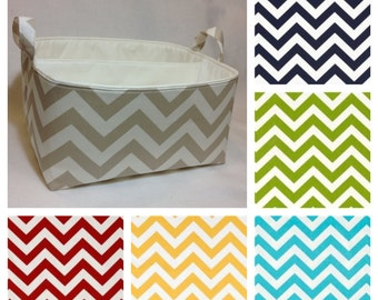 """Customize XLA Diaper Caddy with 2 Sections 13""""x11""""x7"""" Fabric Storage Organizer, Basket, Chevron with Solid Lining"""